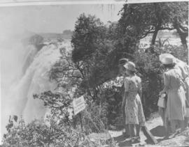 Victoria Falls, Rhodesia, 1947. Royal family at the waterfall.