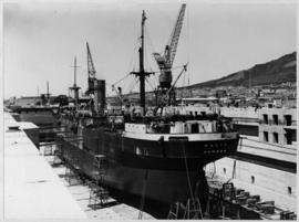 Cape Town, 25 February 1947. The 'Dalia' in the Sturrock graving dock, Table Bay Harbour.