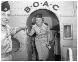 Vaal Dam, November 1949. BOAC Solent G-AHIX 'City of Edinburgh'. Hostesses at aircraft door.
