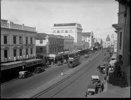 Port Elizabeth, 1932. Trams in Main Street.