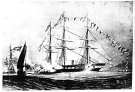 """1860. HMS 'Euryalus' in which Prince Alfred reached the Cape."""