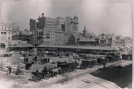 Johannesburg. Market Square with wagons and cape carts.