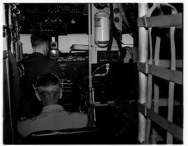 May 1946. Trip to Cape Town with SAA Douglas DC-4 ZS-AUA 'Tafelberg', view of cockpit.