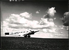 Johannesburg, 1936. Rand airport. SAA Junkers Ju-52 ZS-AFD 'Sir Benjamin d'Urban' taking off.