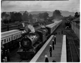 Queenstown, 6 March 1947. SAR Class 15AR's leading the Royal Train into station, SAR Class 15AR b...