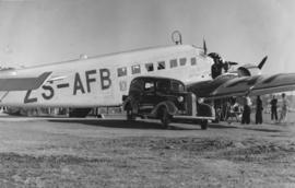 Arrival of air mail with SAA Junkers JU-52 ZS-AFB.