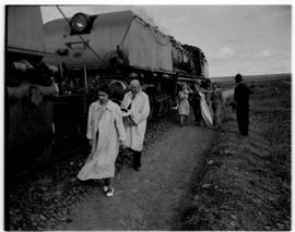 Swellendam, 22 February 1947. Princesses Elizabeth and Margaret and FC Sturrock walk beside SAR C...