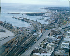 Port Elizabeth., 1986. Aerial view of Port Elizabeth Harbour. [T Robberts]
