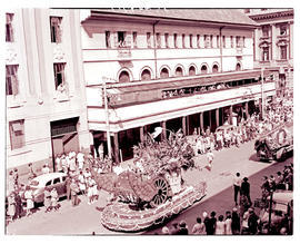 Johannesburg, 1948. SAR Floral week float in street procession.