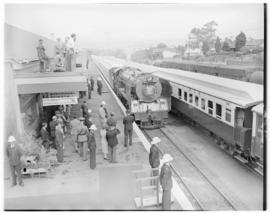 Worcester, 22 February 1947. Royal Train train pulling into station alongside Pilot train, SAR Cl...