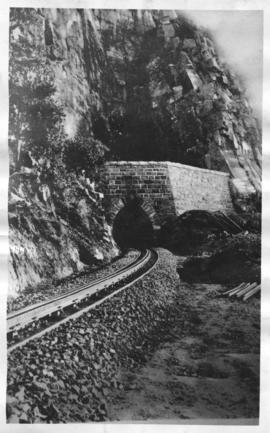 Waterval-Boven. Railway tunnel eastern portal with rack rail in foreground.