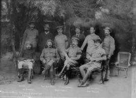 Circa 1900. Meeting of Boer and British officers, including Genl Louis Botha and Lord Kitchener. ...