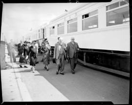 Cape Town. Minister of Transport JC Sturrock and Governor-General GB van Zyl with inspection part...