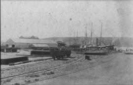 Durban. Railway lines and sailing vessels at the Point.