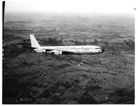 Pretoria district, 1970. Hartebeespoort dam. Boeing 707 ZS-SAE 'Windhoek' in flight.