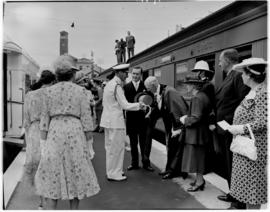 Port Elizabeth.  King George VI being greeted by the mayor on station near the Campanile.