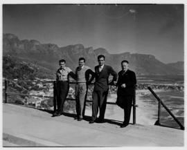 Cape Town, May 1946. Four men posing near Clifton.