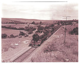 Stutterheim, 1945. SAR Class 15A and 15AR with passenger train leaving station.