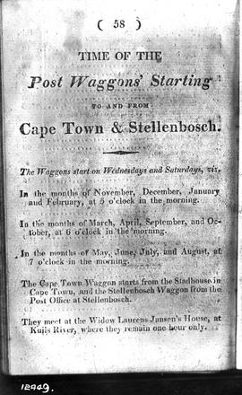 Timetable for post wagon service between Cape Town and Stellenbosch. [Private coach 16, 'Pretoria'?]
