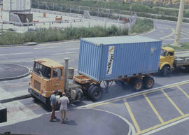 Johannesburg, 1978. SAR Mack truck with container at City Deep container depot.