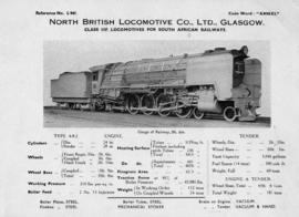 SAR Class 15F. Technical details from North British Locomotive Company, Glasgow. LDB 104 A 105 106.