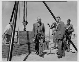 Kimberley, 28 February 1955. Laying of cornerstone of Hoffe Park Recreation Club by Minister BJ S...