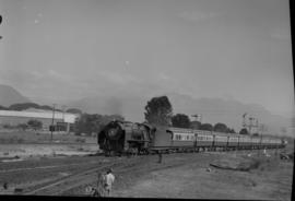 Tulbagh district, 1950. SAR Class 15F with Blue Train coming out of Tulbaghkloof.