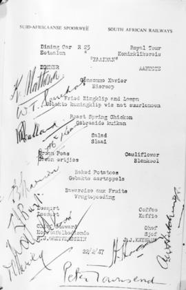 22 February 1947. A 'Kaaiman' dinner menu with many signature.