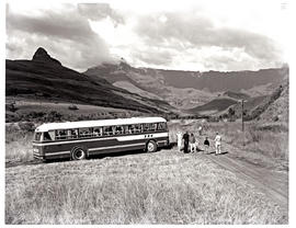 """Drakensberg, 1966. SAR MT16937 motor coach parked next to country road."""