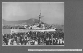 "Cape Town, 18 September 1945. Frigate ""Good Hope"" in Sturrock dock in Table Bay Harbour..."