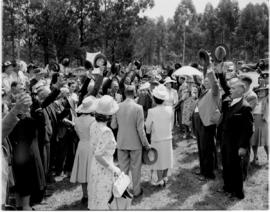Vryheid, 24 March 1947. Royal party being cheered as they enter stadium.