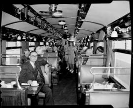 Cape Town, 1947. Tour officials in staff dining saloon No 219 'Protea'.