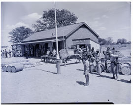 Bechuanaland, 1950. Crafts for sale at railway station.