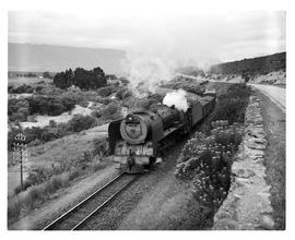 Tulbagh district, 1950. SAR Class 15F with goods train.
