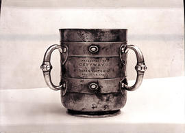 Silver cup presented to Zulu Chief Cetywayo by Queen Victoria on August 1882.