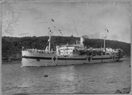Durban, 1945. The 'Gerusalemme' passenger ship converted into naval hospital ship.