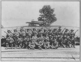 Sir Lowry's Pass, 1928. Soldiers next to SAR type Z-1 railway truck with mounted artillery during...