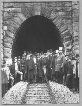 Langsnek Tunnel, 14 October 1891. Official opening ceremony at the southern portal.