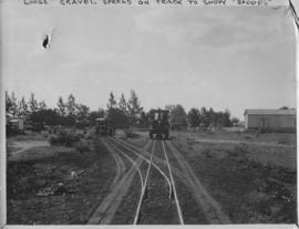 Naboomspruit district, circa 1924. Loose gravel spread on track to show the tracks of the railroa...
