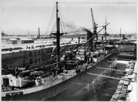 Cape Town, 25 February 1947. Ship in the Sturrock graving dock, Table Bay Harbour.