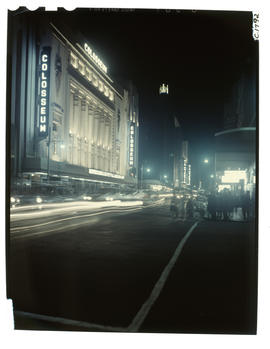 Johannesburg, 1960. Colosseum theatre in Commissioner Street at night.