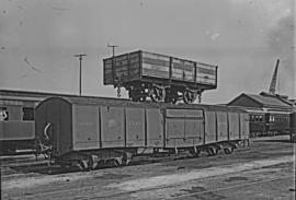 CSAR A1 ex NZASM Short lowsided goods wagon, later SAR E-13, on top of CSAR H2, later SAR B-10, s...