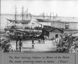 Durban. The first railway station at the Point. Sketch.