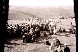 Transkei, 1932. Abakweta dance being watched by crowd.