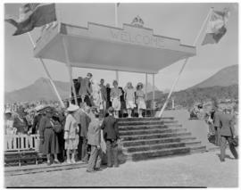 Stellenbosch, 20 February 1947. Royal party on dais at Coetzenburg.