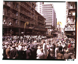 Johannesburg, 1964. Parade marching down in Eloff Street during Johannesburg Festival.