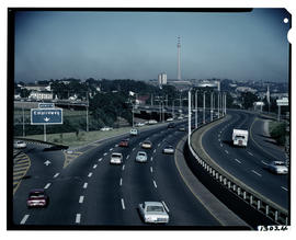 Johannesburg, 1973. Empire Road exit from M1 motorway. [S Mathyssen]