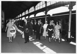 Lourenco Marques, Mozambique, 1959. Conference of General Managers. Group arriving on station pla...