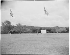 Eshowe, 19 March 1947. Cricket game being played by some of the railway crew of the Royal and Pil...