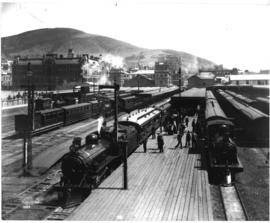 Cape Town, 1893. Station platform showing CGR 6th Class and many trains.